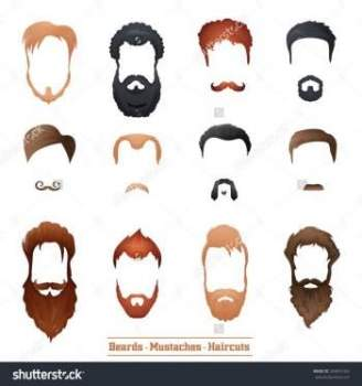 The shape, types and styles of mustache and beard. Photo fashionable male mustache.